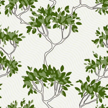 abstrakte muster: Seamless pattern of tree branches with leaves. Summer
