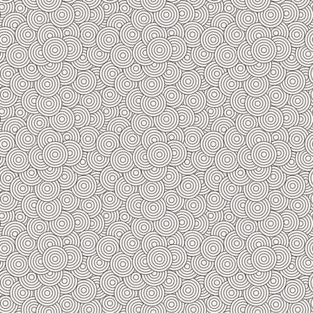 superimposed: Seamless pattern of concentric circles superimposed randomly
