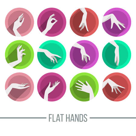 female hands: Set of icons in a flat style with a different image of female hands on the round dies