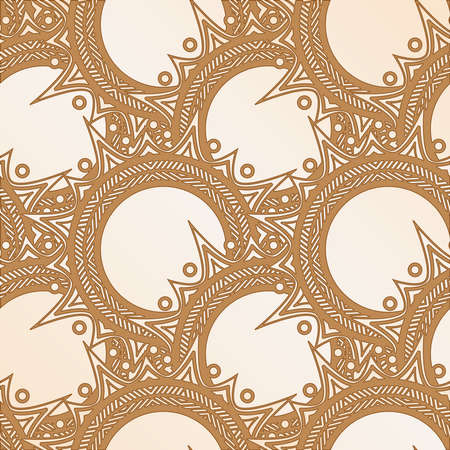 brown pattern: Elegant brown pattern of circular elements with sharp spikes