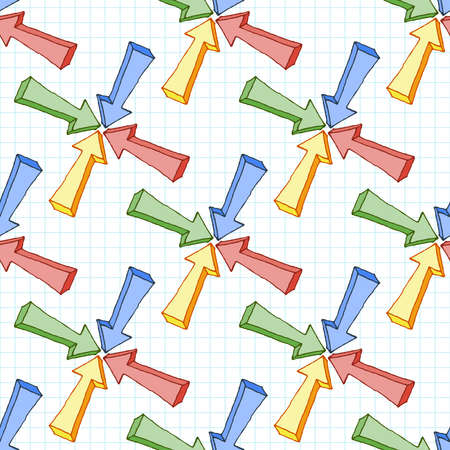 checkered volume: Seamless pattern of multi-colored volume arrows on checkered paper