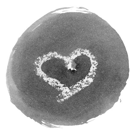 ink stain: Ink Stain with the Symbol of Heart