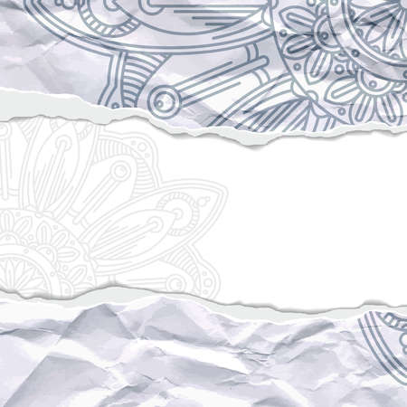 ragged: Background of crumpled torn paper with floral circular pattern. Mandala. Ragged edges.