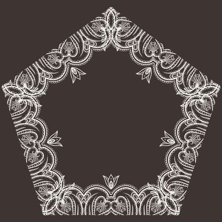 pentagonal: Intricate floral frame pentagonal Stock Photo