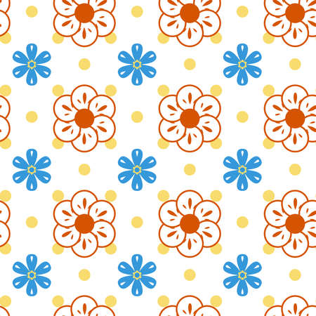 retro flowers: Intricate colorful pattern of flowers with a touch of retro Stock Photo