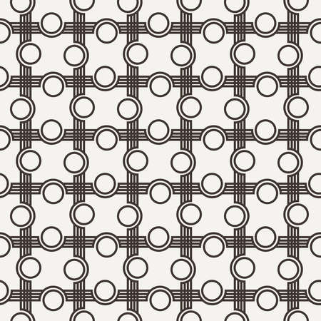 curved lines: Seamless pattern of curved lines with circles