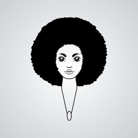 アフリカのスタイルで豊かな髪を持つ女性の肖像画。ベクトル。