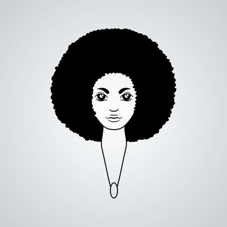 black american: Portrait of a woman with luxuriant hair in the style of an African. Vector.
