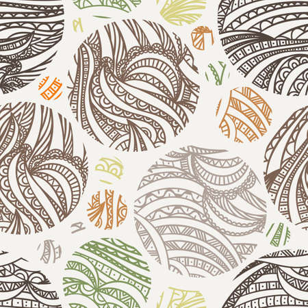 batik: Vector seamless hand-drawn pattern of contour colored leaves in circles