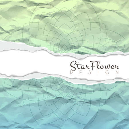roztrhaný: Vektorové pozadí zmačkaný potrhaný papír s květinovým vzorem kruhového. Mandala. Zbarvily. Ilustrace