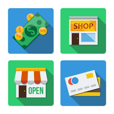mastercard: Four different square icons in a flat style Stock Photo