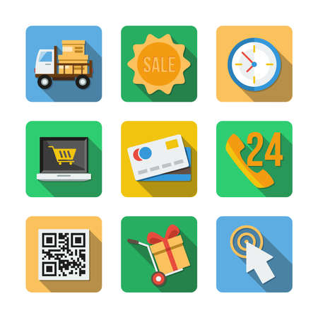 mastercard: Nine different square icons in a flat style