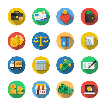 mastercard: Sixteen different round icons in a flat style Stock Photo