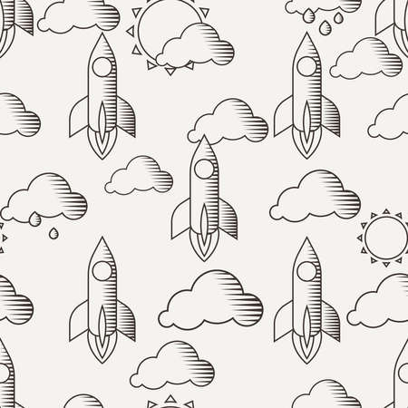 the fastest: Seamless pattern with rockets, clouds and sun, painted lines in vintage style