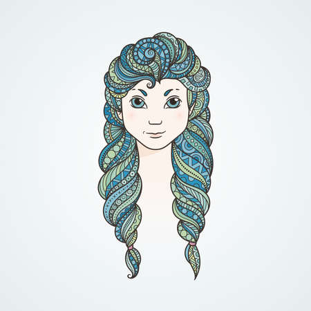 stern: Portrait of a cute long-haired girl with braids and a stern look