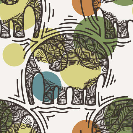 crooked: Seamless pattern with elephants crooked line on the background of colored spots