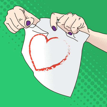 female hands: Illustration of female hands tearing paper with a heart
