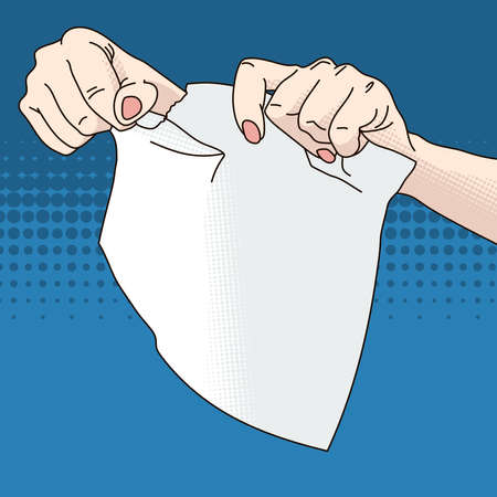 tearing: Illustration of female hands tearing paper Stock Photo