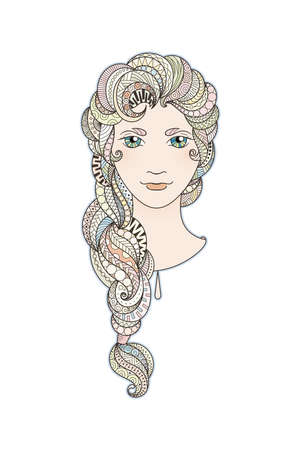 braid: Beautiful girl with intricately patterned, zentangle braid and bright eyes. Marshmallow locks.