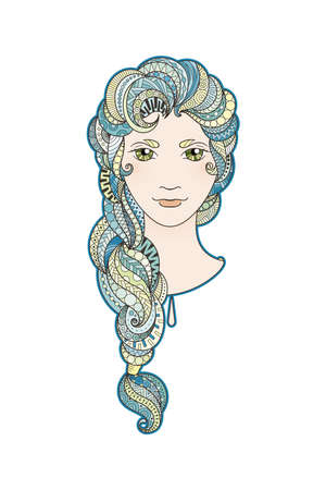 bright eyes: Beautiful girl with intricately patterned, zentangle braid and bright eyes. Sea locks.