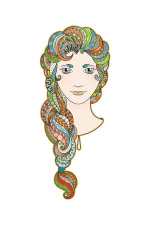 braid: Beautiful girl with intricately patterned, zentangle braid and bright eyes. Rainbow locks.