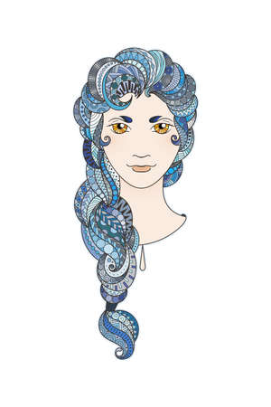bright eyes: Beautiful girl with intricately patterned, zentangle braid and bright eyes. Sapphire locks.