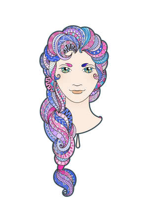 braid: Beautiful girl with intricately patterned, zentangle braid and bright eyes. Pink locks.