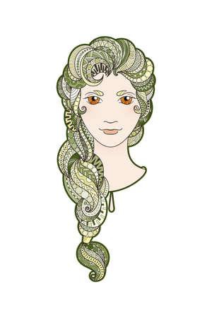 bright eyes: Beautiful girl with intricately patterned, zentangle braid and bright eyes. Algae locks.