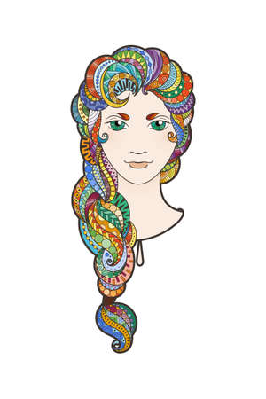 braid: Beautiful girl with intricately patterned, zentangle braid and bright eyes. Vector portrait. Rainbow locks.