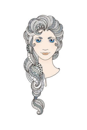 braid: Beautiful girl with intricately patterned, zentangle braid and bright eyes. Vector portrait. Grey dusty locks.