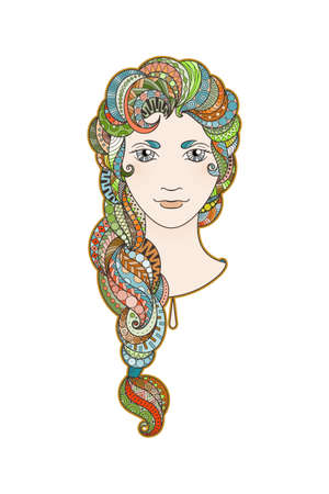 bright eyes: Beautiful girl with intricately patterned, zentangle braid and bright eyes. Vector portrait. Rainbow locks.