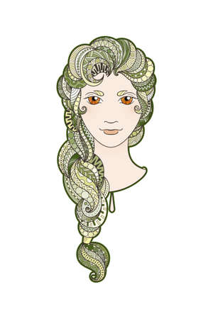 braid: Beautiful girl with intricately patterned, zentangle braid and bright eyes. Vector portrait. Algae locks.
