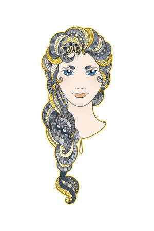 braid: Beautiful girl with intricately patterned, zentangle braid and bright eyes. Vector portrait. Blue and yellow locks. Illustration
