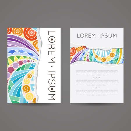 cover art: Set of vector design templates. Brochures in random colorful style. Vintage frames and backgrounds. Zentangle designs. Illustration