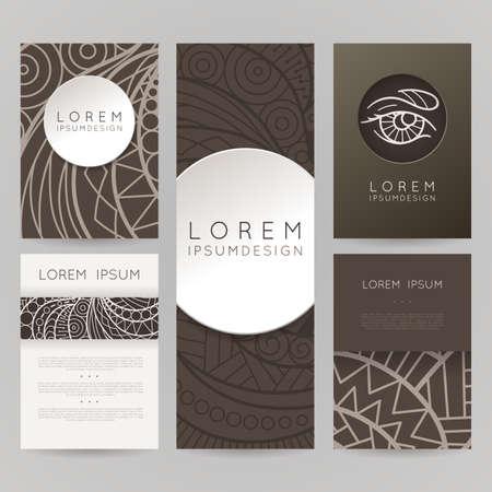 hair style set: Set of vector design templates. Brochures in random colorful style. Vintage frames and backgrounds. Zentangle designs. Illustration