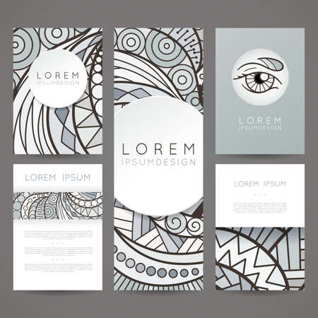 hair style: Set of vector design templates. Brochures in random colorful style. Vintage frames and backgrounds. Zentangle designs. Illustration