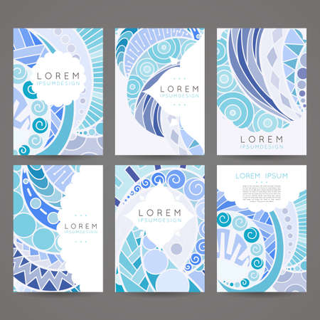 Set of vector design templates. Brochures in random colorful style. Vintage frames and backgrounds. Zentangle designs. Illustration