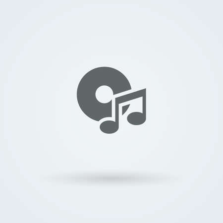 melodies: Minimalistic music icon. Disk and a note. Pictogram. Button.