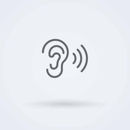 listener: Stock minimalist icon ear. Pictogram. Button. Illustration