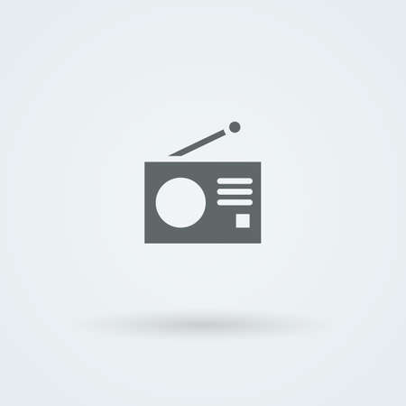 frequency modulation: Minimalistic Vector icons with a vintage radio. Pictogram. Button.