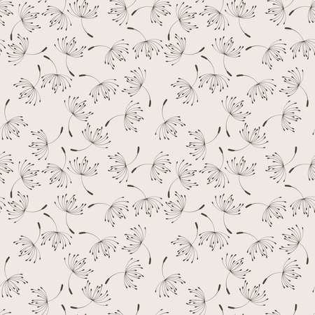 graphically: Seamless floral pattern of flying dandelion seeds in the wind