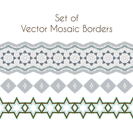 inlay: Set of exquisite filigree borders or brush style mosaics and inlay Stock Photo