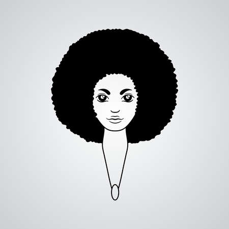 afro hair: Portrait of a woman with luxuriant hair in the style of an African.  The patterns in the hair.