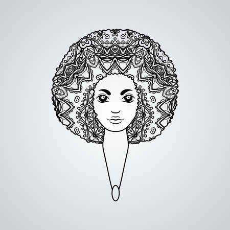 luxuriant: Portrait of a woman with luxuriant hair in the style of an African.  The patterns in the hair.