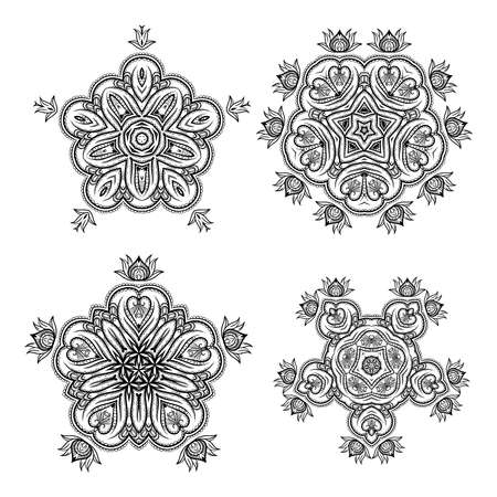 motivos navideños: Set of monochrome flower mandala on a contrasting background. Snowflake Foto de archivo