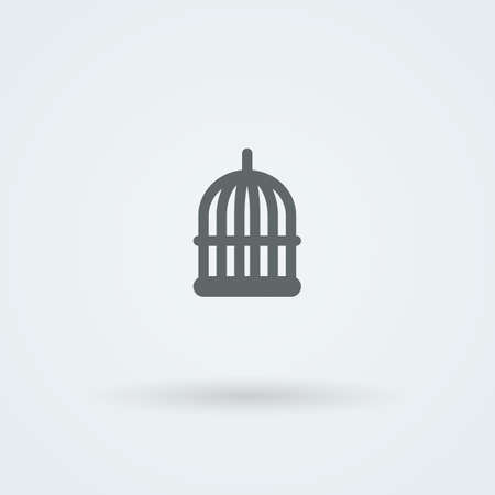 confined: Simple minimalist icon birdcage. . Button. Pictogram. Illustration