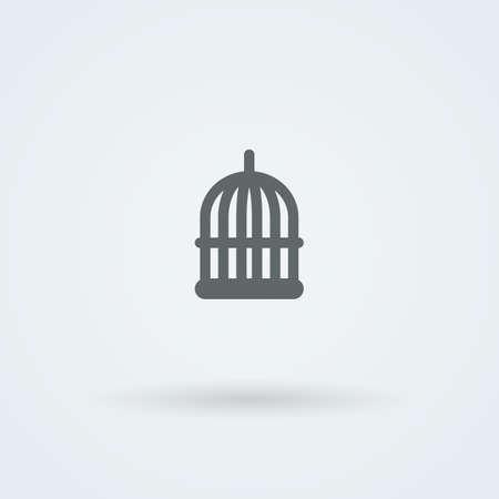 enclose: Simple minimalist icon birdcage. . Button. Pictogram. Illustration