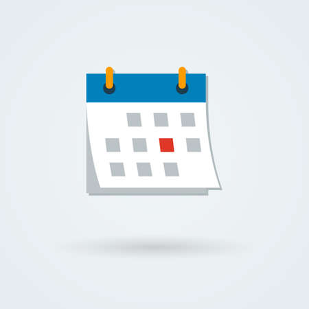 Vector calendar icon. Illustration. Simple flat design style. . Pictogram. Button.