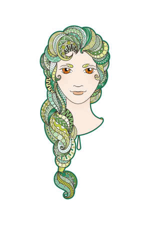 braid: Beautiful girl with intricately patterned, zentangle braid and bright eyes. Vector portrait. Emerald locks.