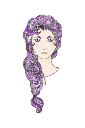 amethyst: Beautiful girl with intricately patterned, zentangle braid and bright eyes. Vector portrait. Amethyst locks.